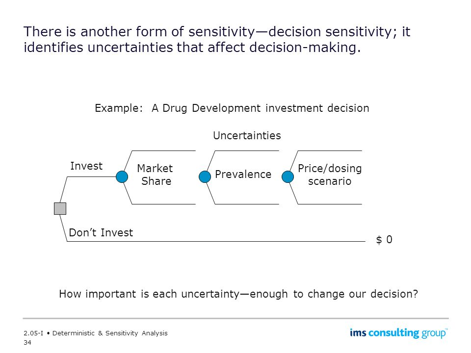 There is another form of sensitivity—decision sensitivity; it identifies uncertainties that affect decision-making.
