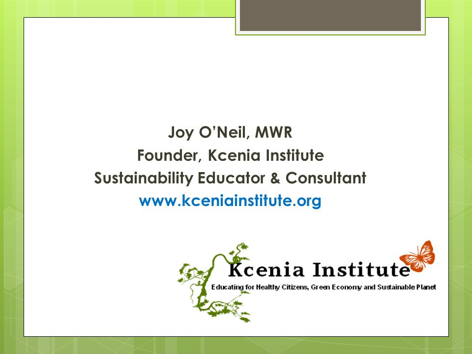 Founder, Kcenia Institute Sustainability Educator & Consultant