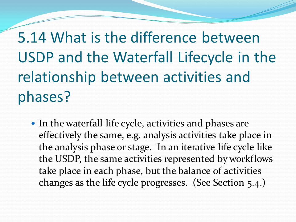5.14 What is the difference between USDP and the Waterfall Lifecycle in the relationship between activities and phases