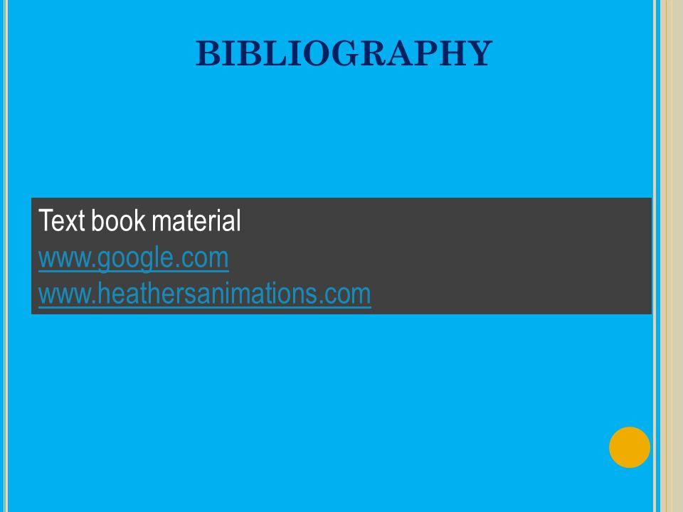 BIBLIOGRAPHY Text book material www.google.com