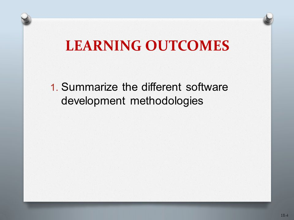 LEARNING OUTCOMES Summarize the different software development methodologies