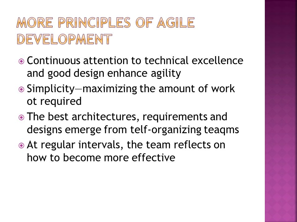 More Principles of Agile Development