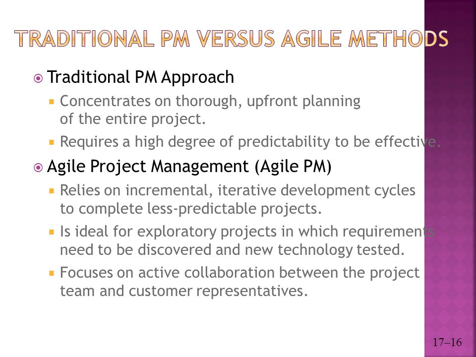 Traditional PM versus Agile Methods