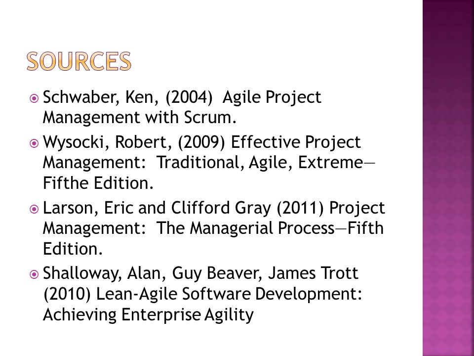 Sources Schwaber, Ken, (2004) Agile Project Management with Scrum.