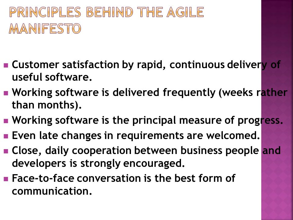 Principles Behind the Agile Manifesto