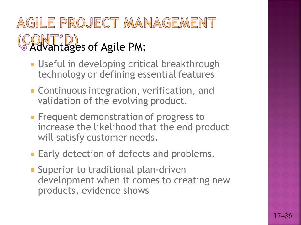 Agile Project Management (cont'd)