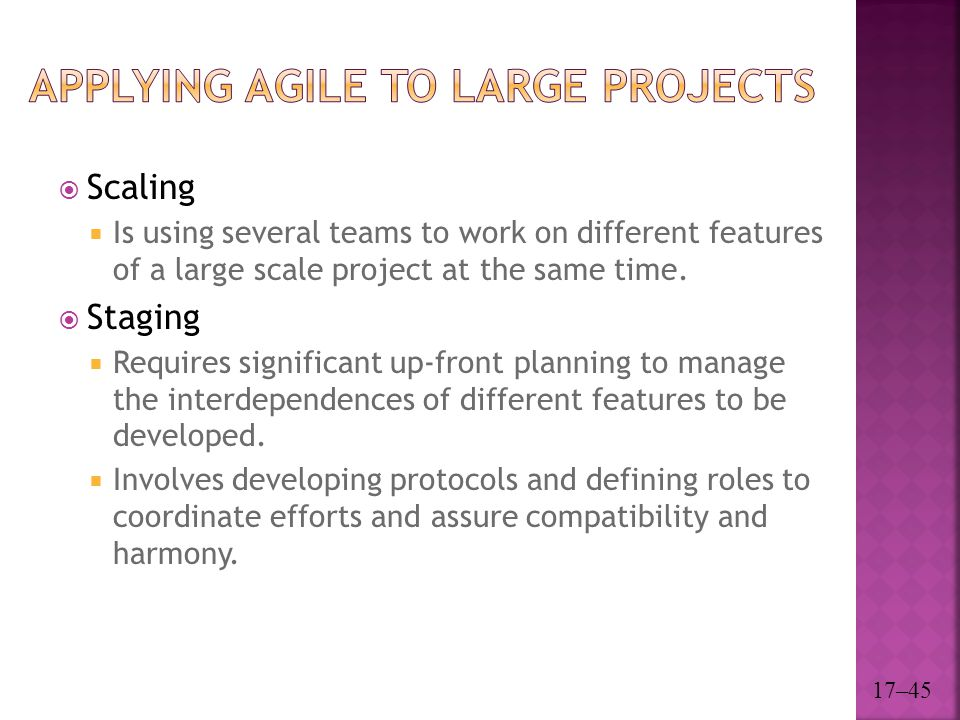 Applying Agile to Large Projects