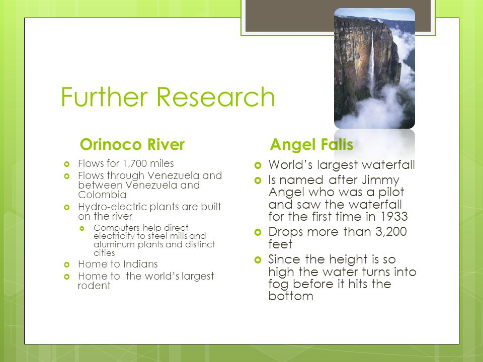 Further Research Orinoco River Angel Falls World's largest waterfall