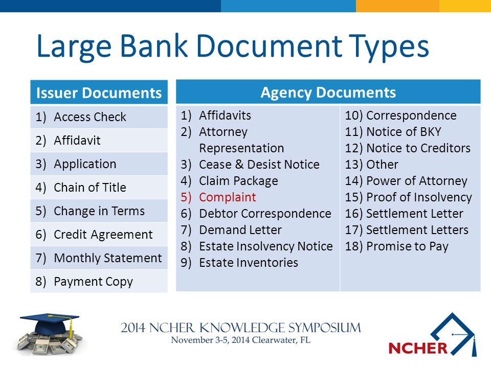 Large Bank Document Types