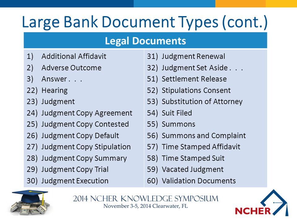 Large Bank Document Types (cont.)