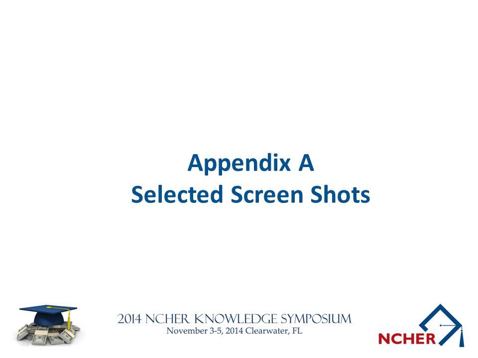 Appendix A Selected Screen Shots