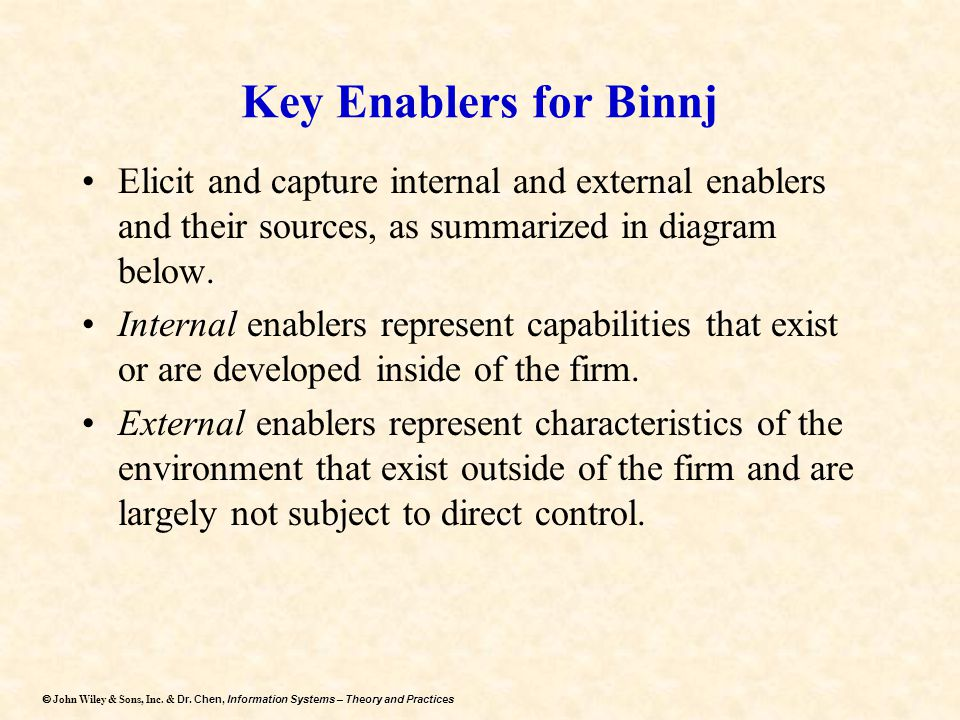 Key Enablers for Binnj Elicit and capture internal and external enablers and their sources, as summarized in diagram below.