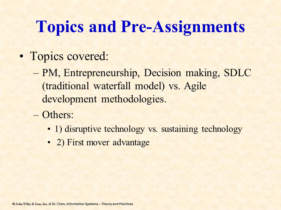 Topics and Pre-Assignments