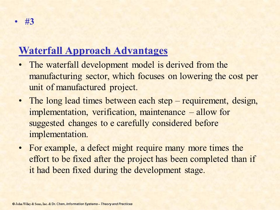 Waterfall Approach Advantages
