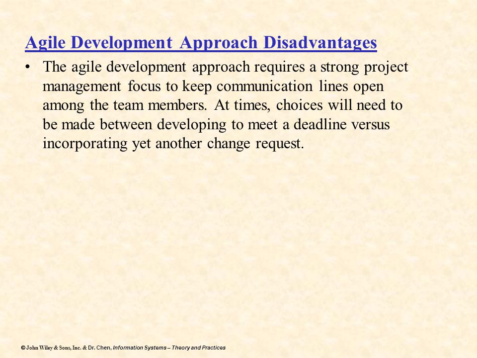 Agile Development Approach Disadvantages