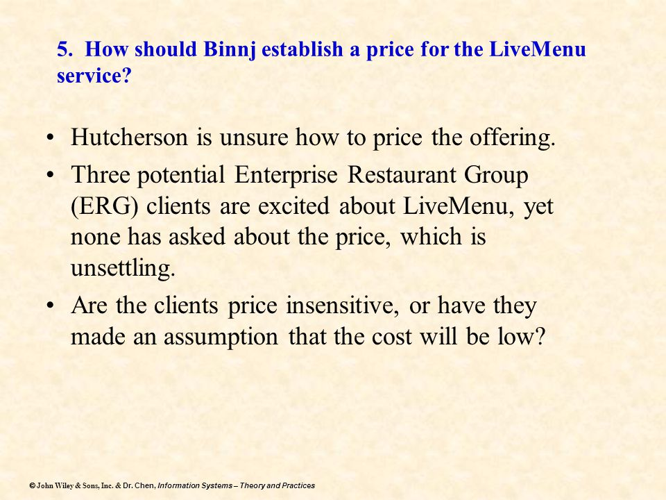 5. How should Binnj establish a price for the LiveMenu service