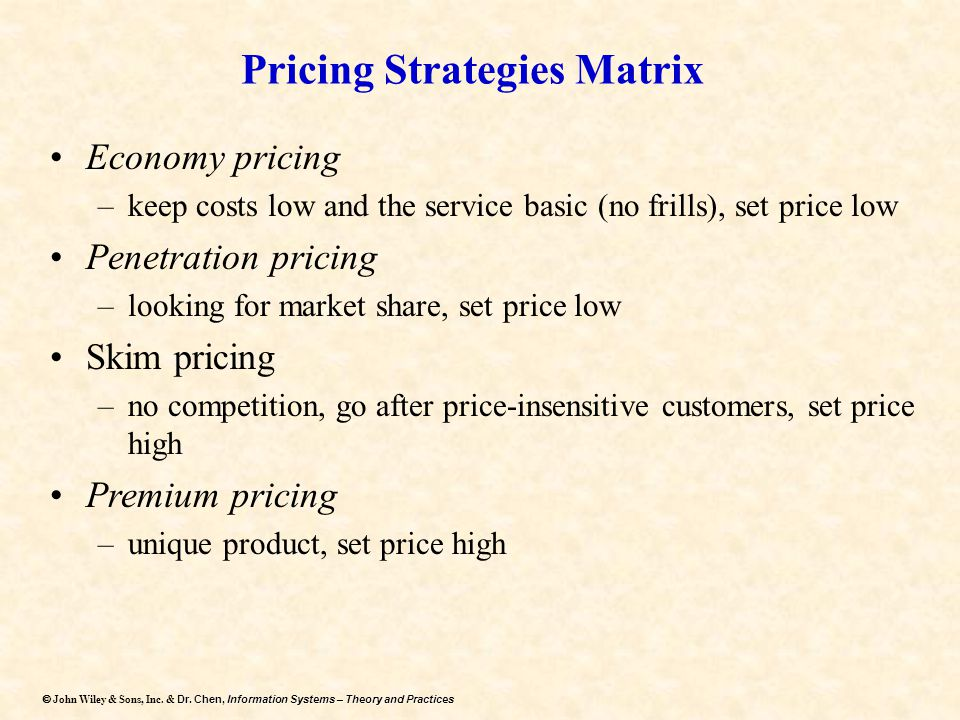 Pricing Strategies Matrix