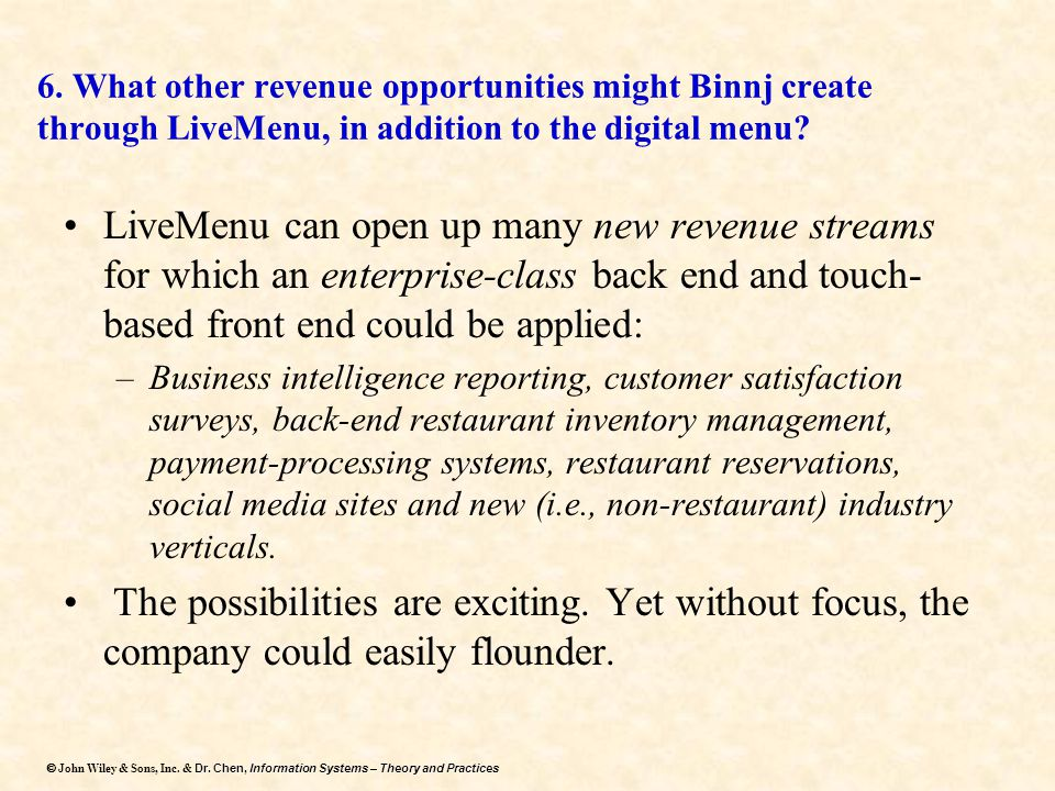 6. What other revenue opportunities might Binnj create through LiveMenu, in addition to the digital menu