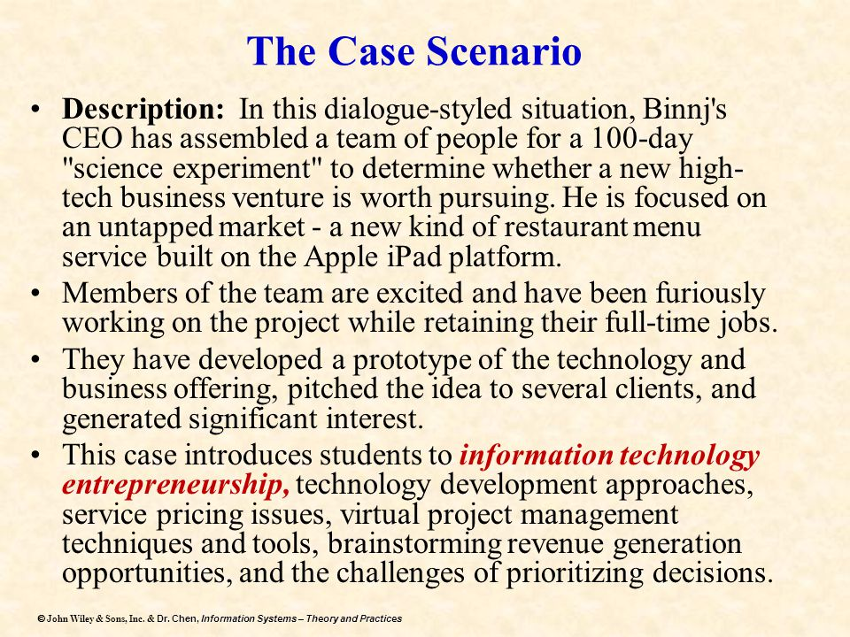 The Case Scenario