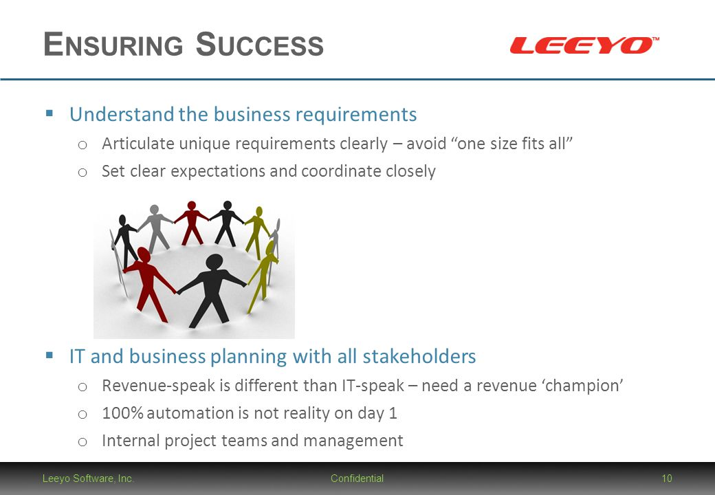Ensuring Success Understand the business requirements