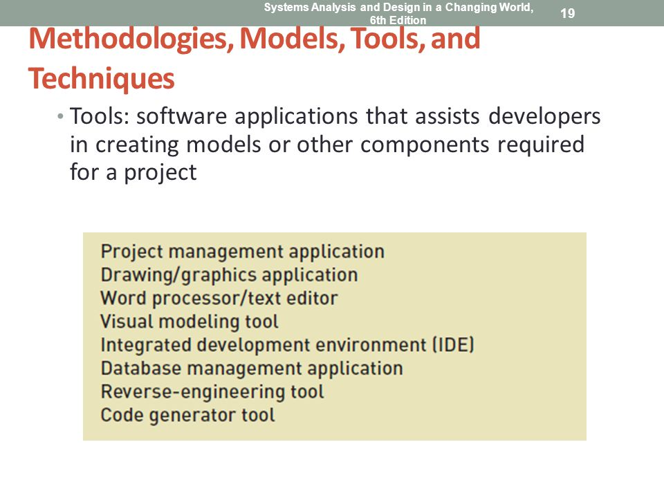 Methodologies, Models, Tools, and Techniques