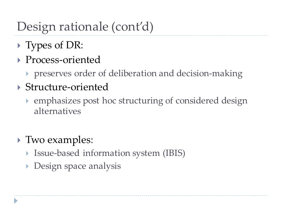 Design rationale (cont'd)