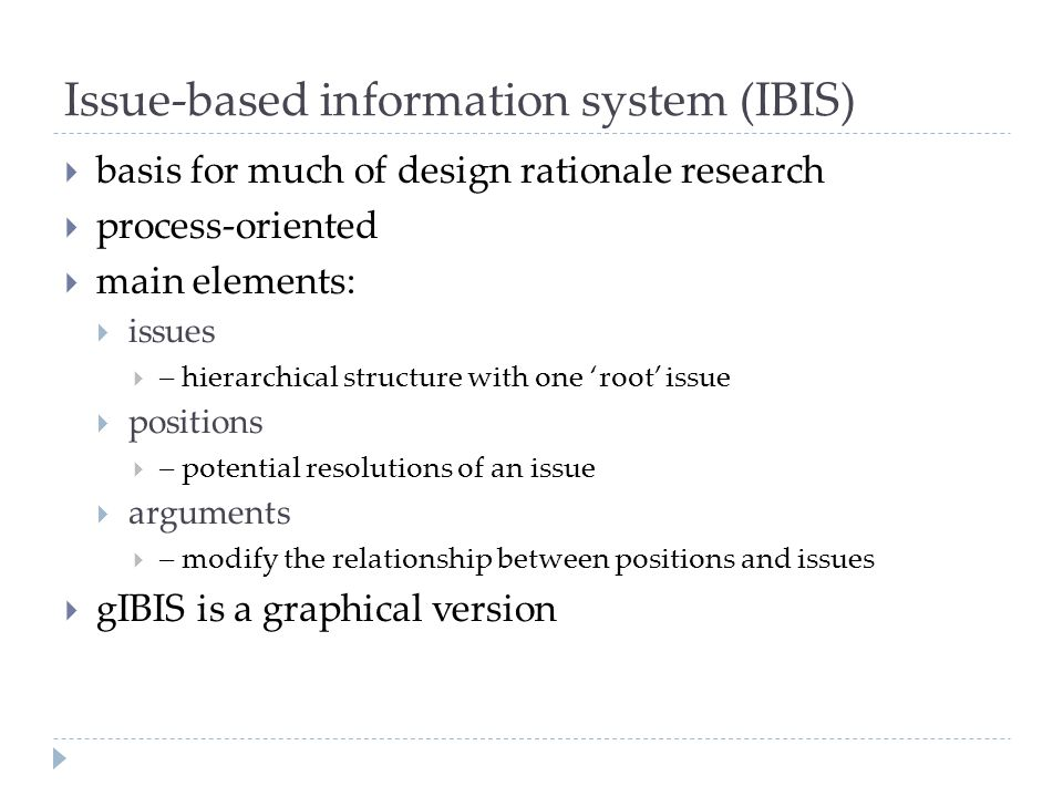 Issue-based information system (IBIS)