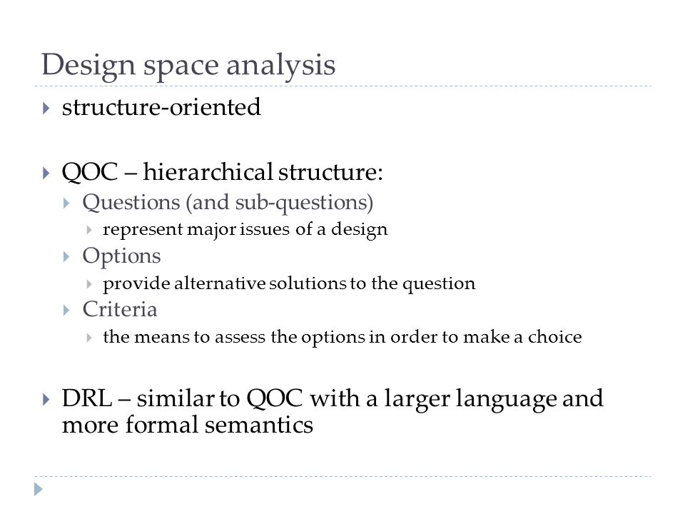 Design space analysis structure-oriented QOC – hierarchical structure: