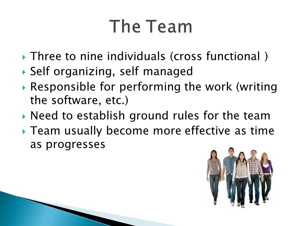 The Team Three to nine individuals (cross functional )