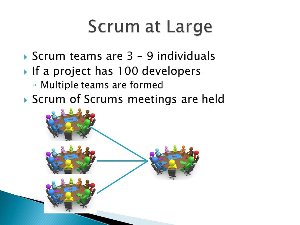 Scrum at Large Scrum teams are 3 – 9 individuals