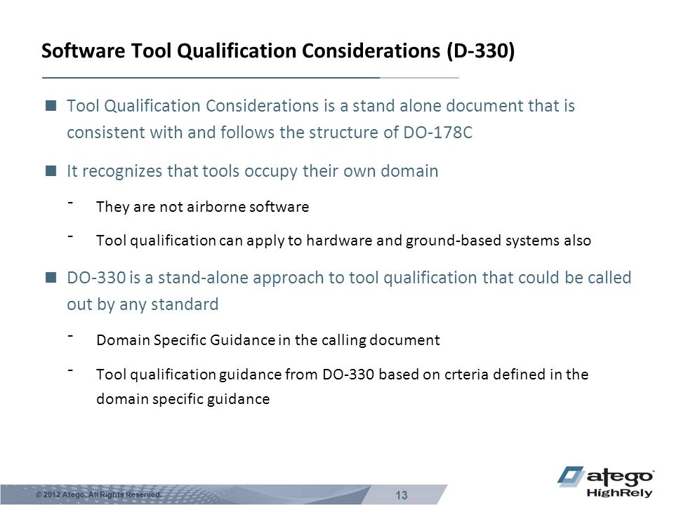 Software Tool Qualification Considerations (D-330)