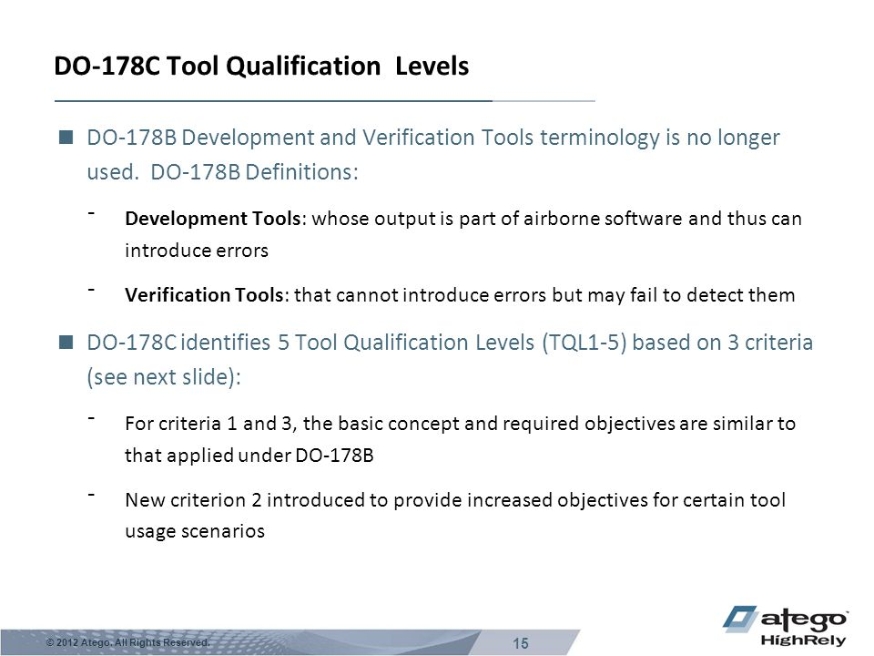 DO-178C Tool Qualification Levels