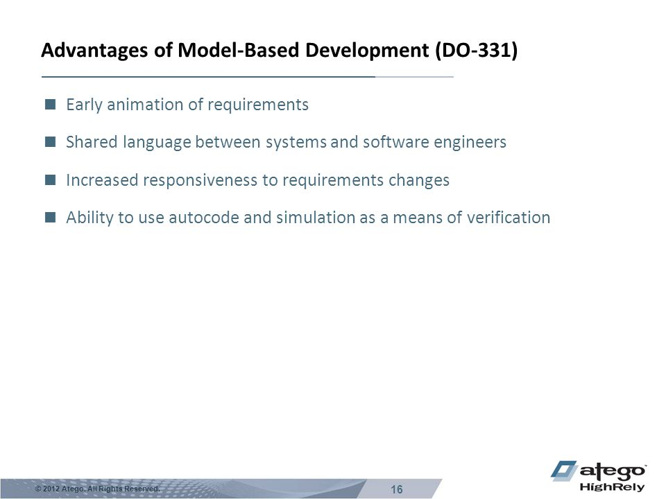 Advantages of Model-Based Development (DO-331)