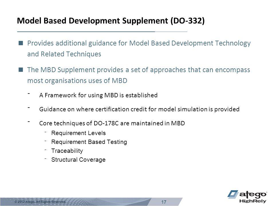 Model Based Development Supplement (DO-332)
