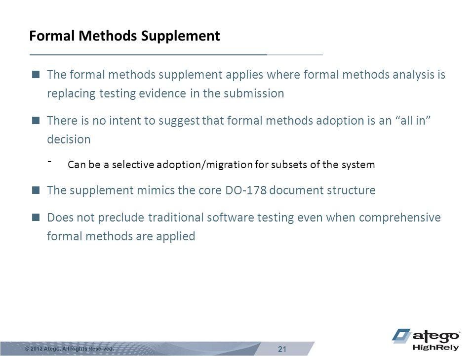 Formal Methods Supplement