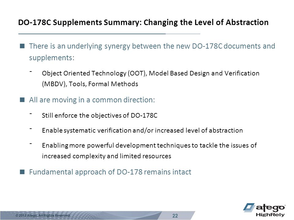DO-178C Supplements Summary: Changing the Level of Abstraction
