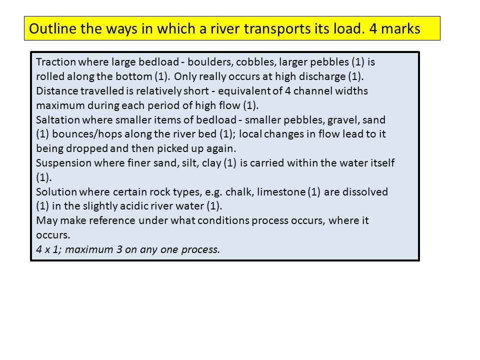 Outline the ways in which a river transports its load. 4 marks