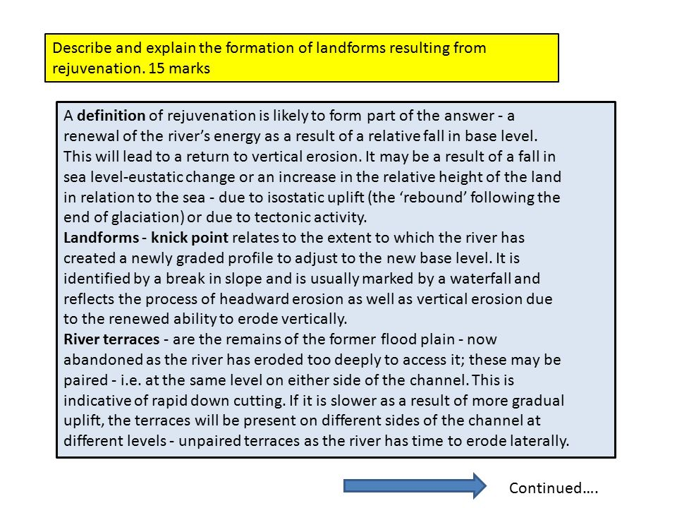 Describe and explain the formation of landforms resulting from rejuvenation. 15 marks