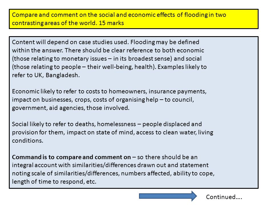 Compare and comment on the social and economic effects of flooding in two contrasting areas of the world. 15 marks