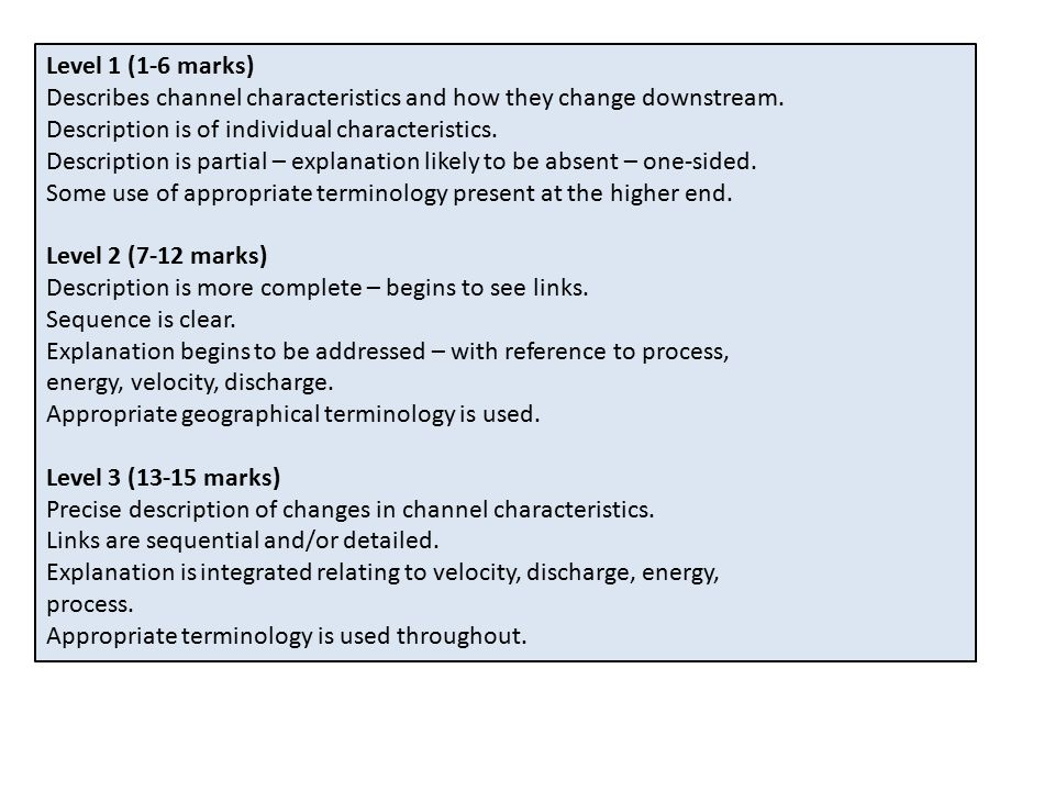 Level 1 (1-6 marks) Describes channel characteristics and how they change downstream. Description is of individual characteristics.