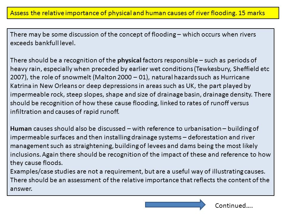 Assess the relative importance of physical and human causes of river flooding. 15 marks