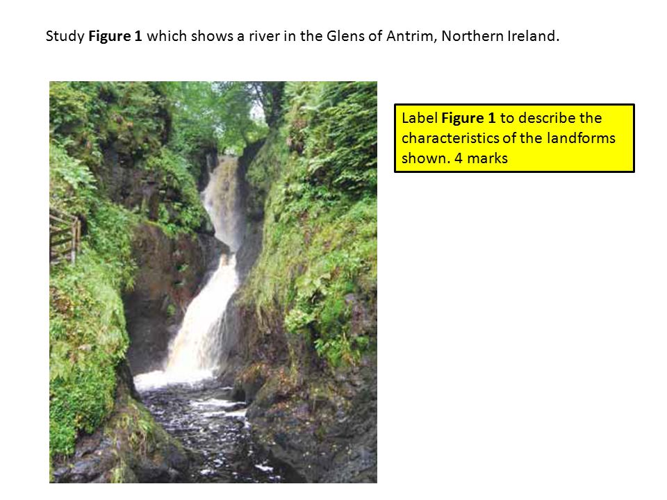 Study Figure 1 which shows a river in the Glens of Antrim, Northern Ireland.