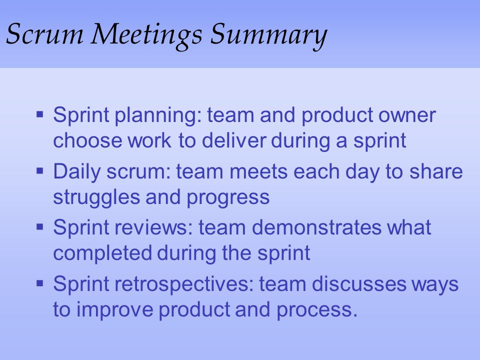 Scrum Meetings Summary