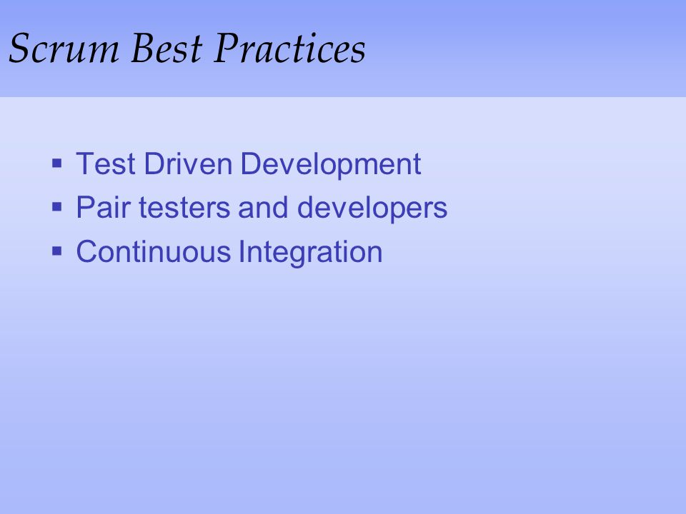 Scrum Best Practices Test Driven Development