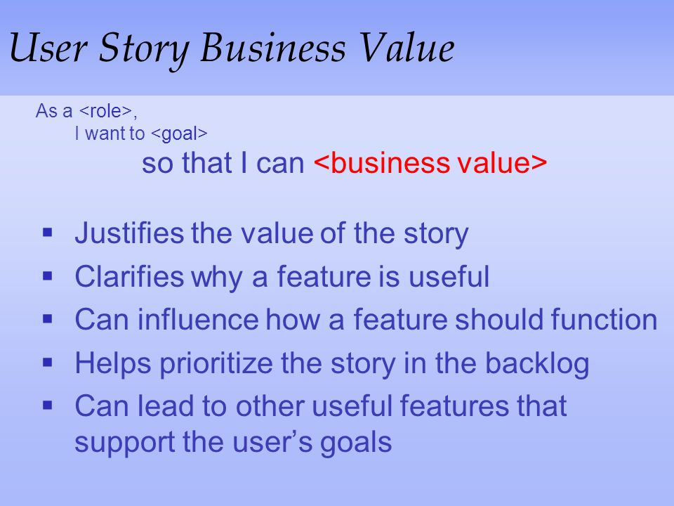 User Story Business Value