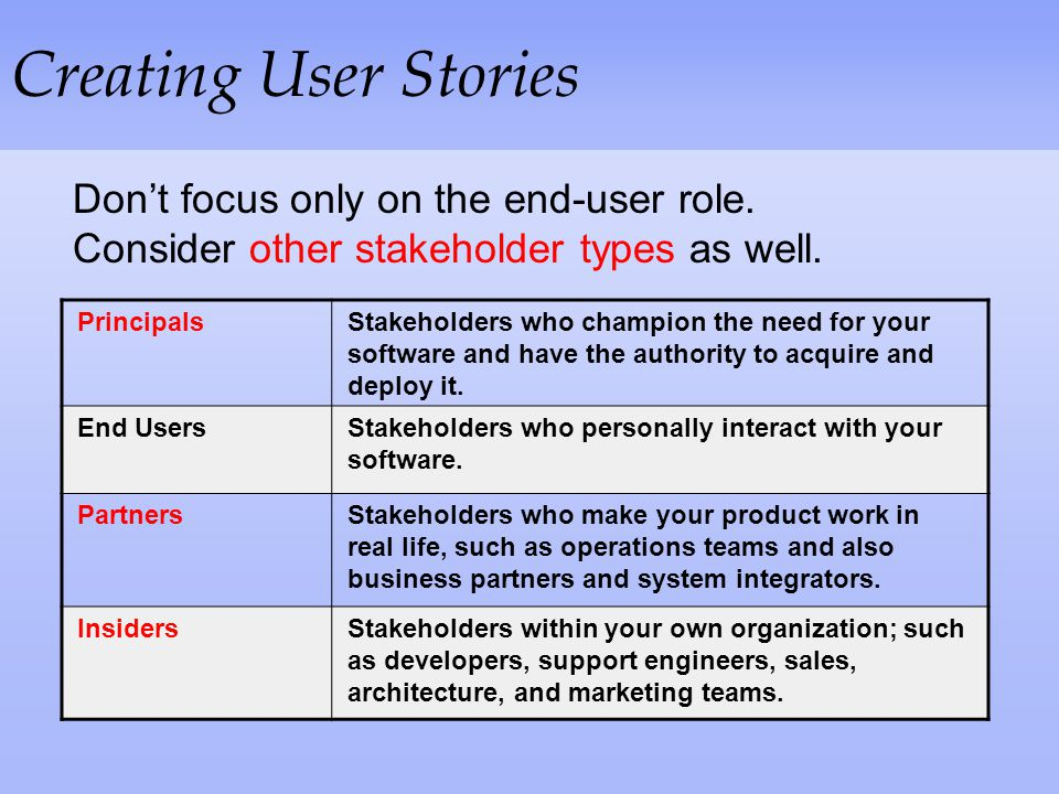 Creating User Stories Don't focus only on the end-user role. Consider other stakeholder types as well.