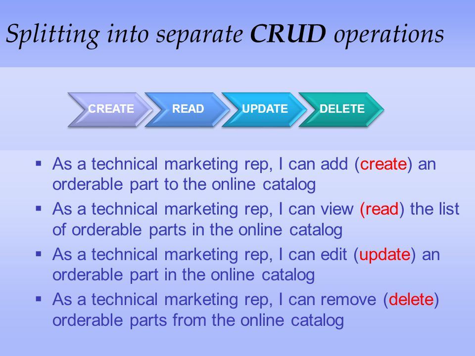 Splitting into separate CRUD operations