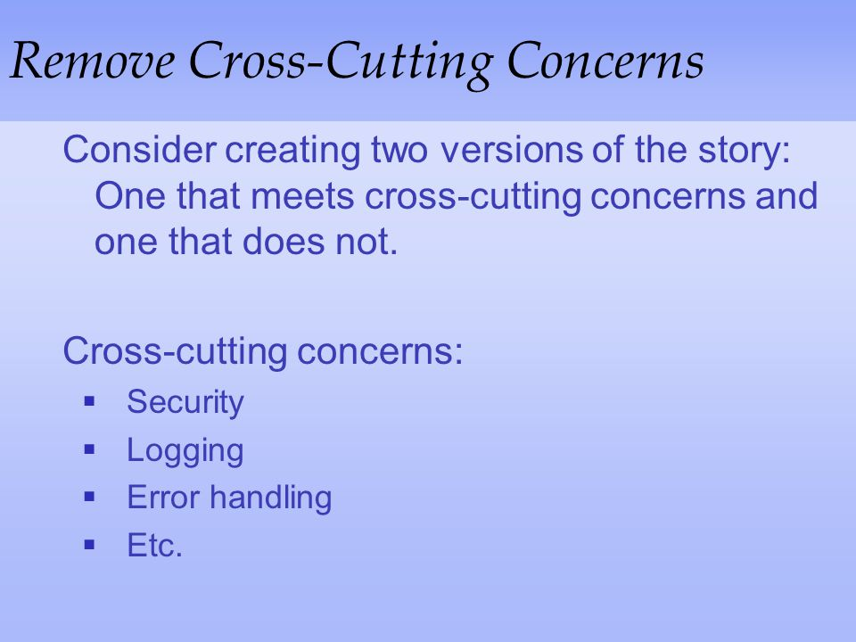 Remove Cross-Cutting Concerns