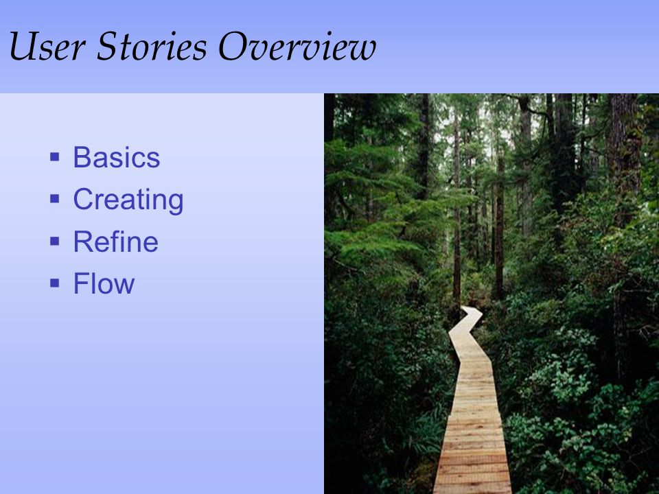 User Stories Overview Basics Creating Refine Flow
