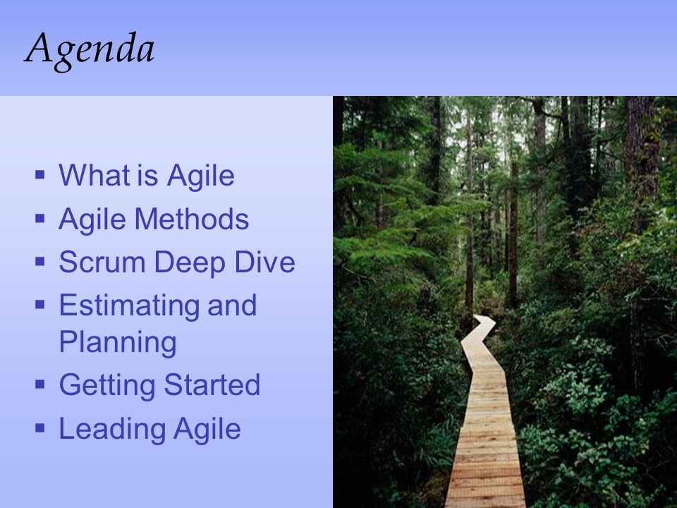 Agenda What is Agile Agile Methods Scrum Deep Dive